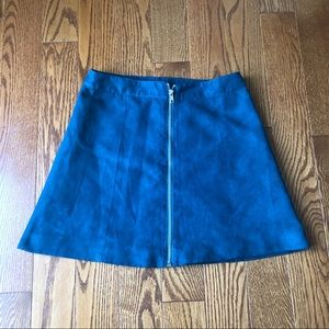 H&M Teal Velvet A-Line Mini Skirt